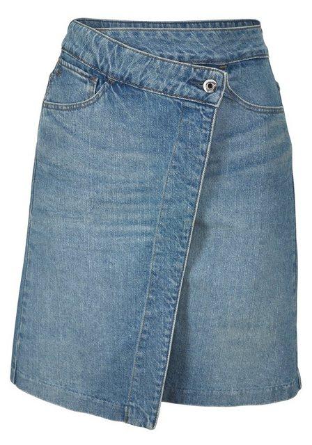 Damen G-Star RAW Jeansrock Arc Wrap Skirt mit schräger verdeckter Knopfleiste blau | 08719369388194
