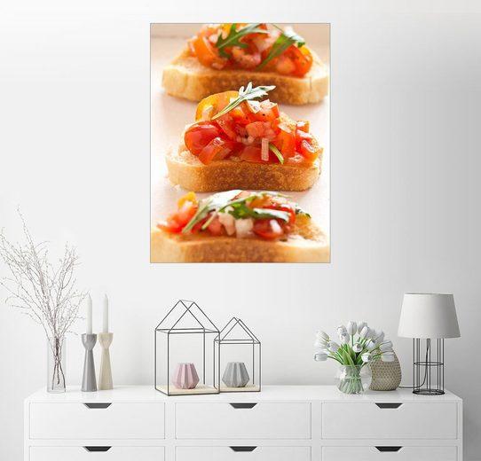 Posterlounge Wandbild - Edith Albuschat »Bruschetta aus Tomaten und Rucola«