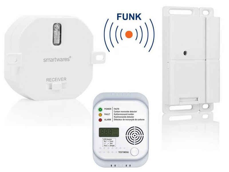 smartwares Rauch- und Hitzewarnmelder, FUNK SET: Fenster-Kontaktschalter für Dunstabzugshaube, Kamin & Einbauschalter & CO-Melder