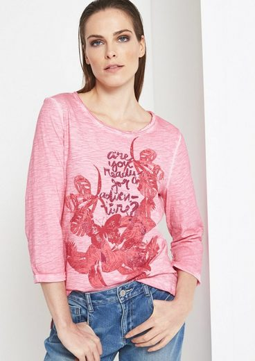 COMMA 3/4-Arm Shirt mit Statement-Frontprint