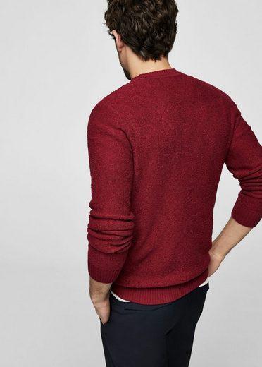 MANGO MAN Strukturierter Woll-Mix-Pullover
