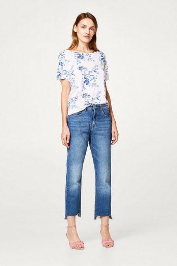 ESPRIT Softes Melange-Shirt mit modernem Blumen-Print