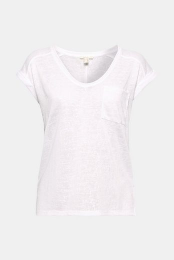 ESPRIT T-Shirt aus transparentem Slub-Jersey