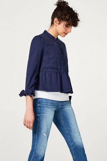 Esprit Lightweight Lyocell Jacket With Standing Collar And Stitchings