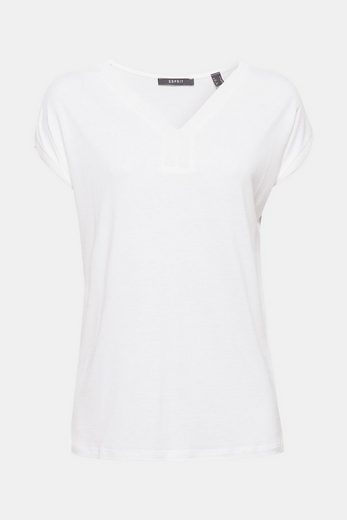 ESPRIT COLLECTION Soft fallendes T-Shirt mit V-Ausschnitt