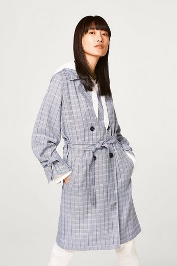 ESPRIT Softer Trench mit Karomuster