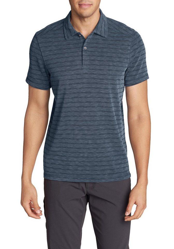 Herren Eddie Bauer Poloshirt Contour Performance Poloshirt – Kurzarm – geringelt blau | 04057682293110