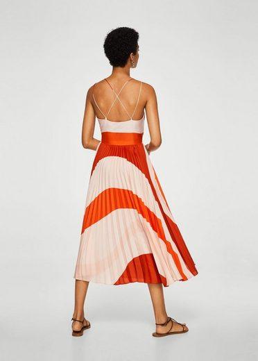 MANGO Plissiertes, zweifarbiges Kleid