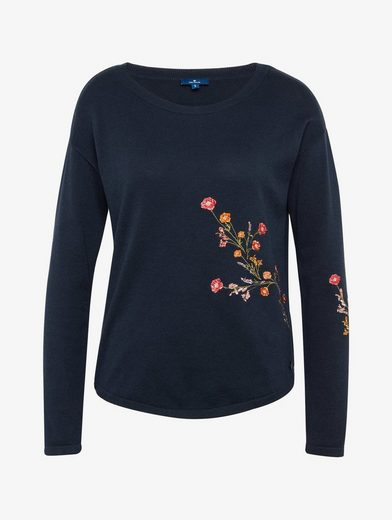 Tom Tailor Strick Pullover Sweater With Floral Embroidery