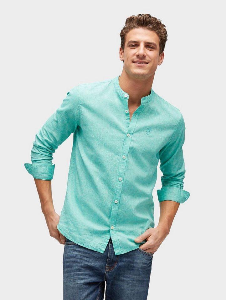 TOM TAILOR Hemd »Hemd mit Stehkragen aus Leinen