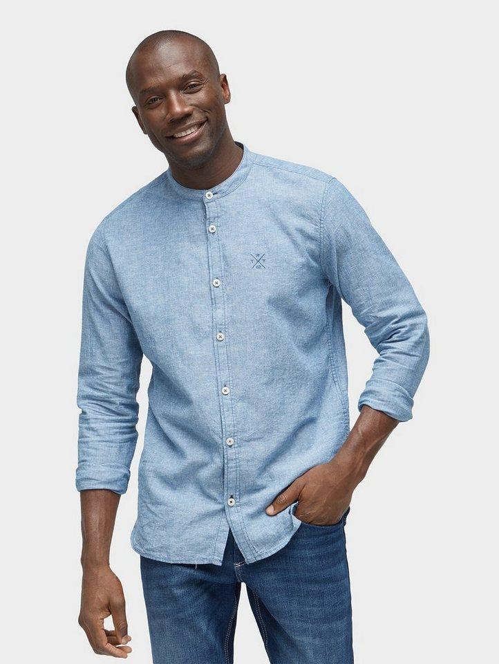 tom tailor hemd hemd mit stehkragen aus leinen baumwollgemisch online kaufen otto. Black Bedroom Furniture Sets. Home Design Ideas
