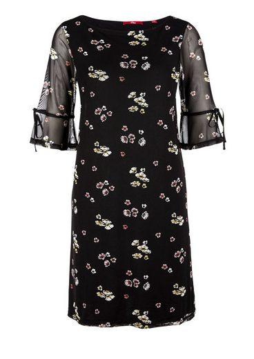 s.Oliver RED LABEL Mesh-Kleid mit Volantärmeln