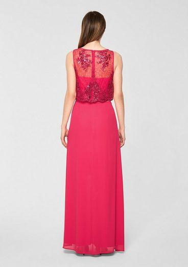 s.Oliver BLACK LABEL Chiffon-Kleid mit Spitze
