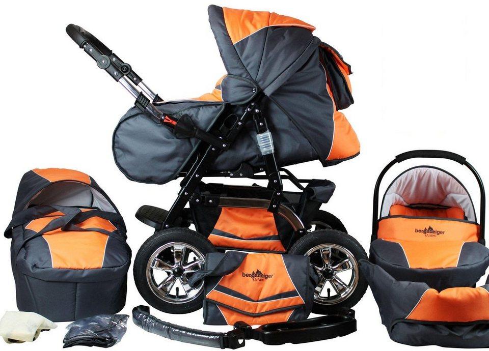 bergsteiger kombi kinderwagen 10 tlg milano orange grey 3in1 online kaufen otto. Black Bedroom Furniture Sets. Home Design Ideas