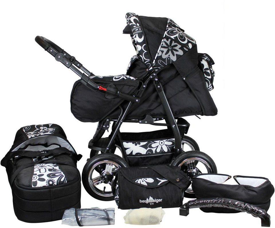 bergsteiger kombi kinderwagen 10 tlg rio white flowers 3in1 online kaufen otto. Black Bedroom Furniture Sets. Home Design Ideas