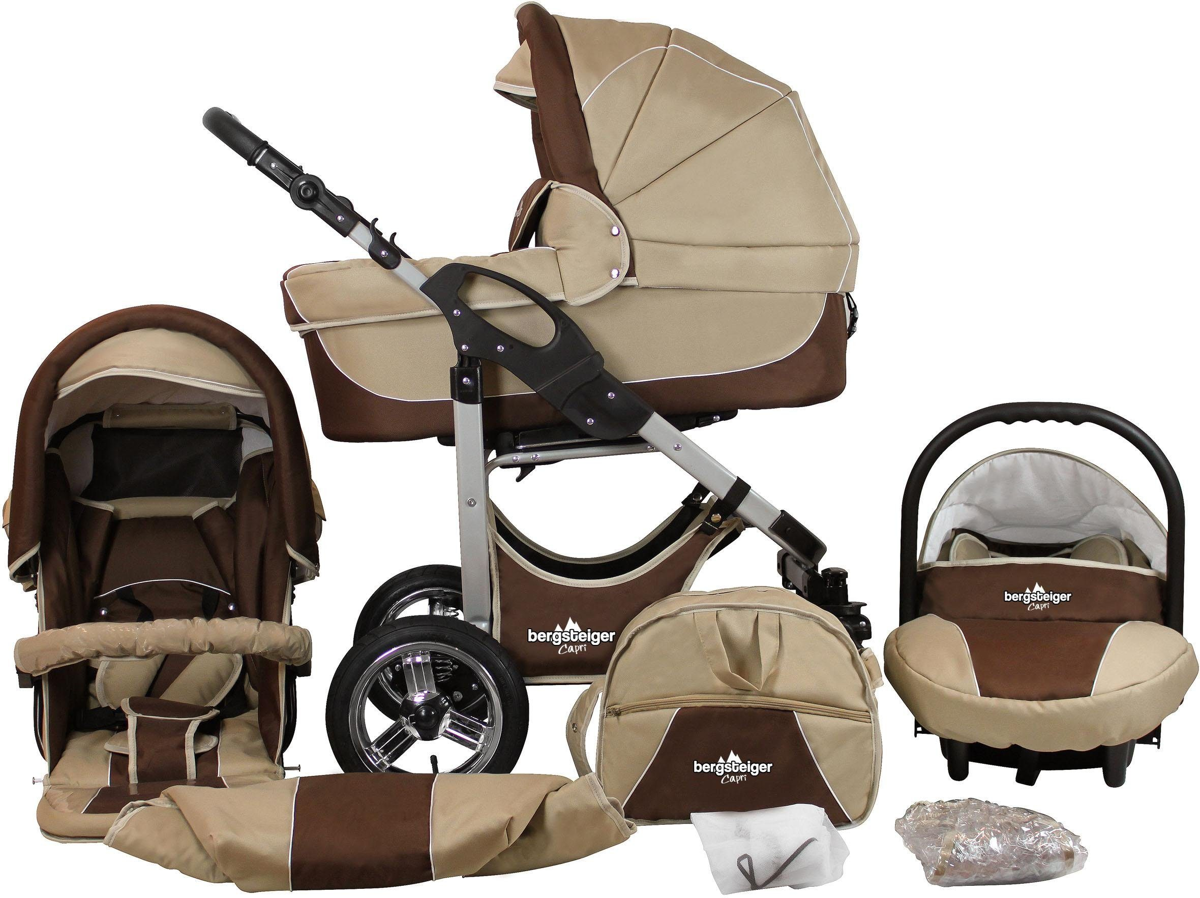 Bergsteiger Kombi-Kinderwagen, 10-tlg., »Capri, coffee & brown, 3in1«