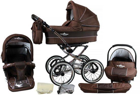 bergsteiger Kombi-Kinderwagen »Venedig, chocolate, 3in1«, (10-tlg), Made in Europe; Kinderwagen