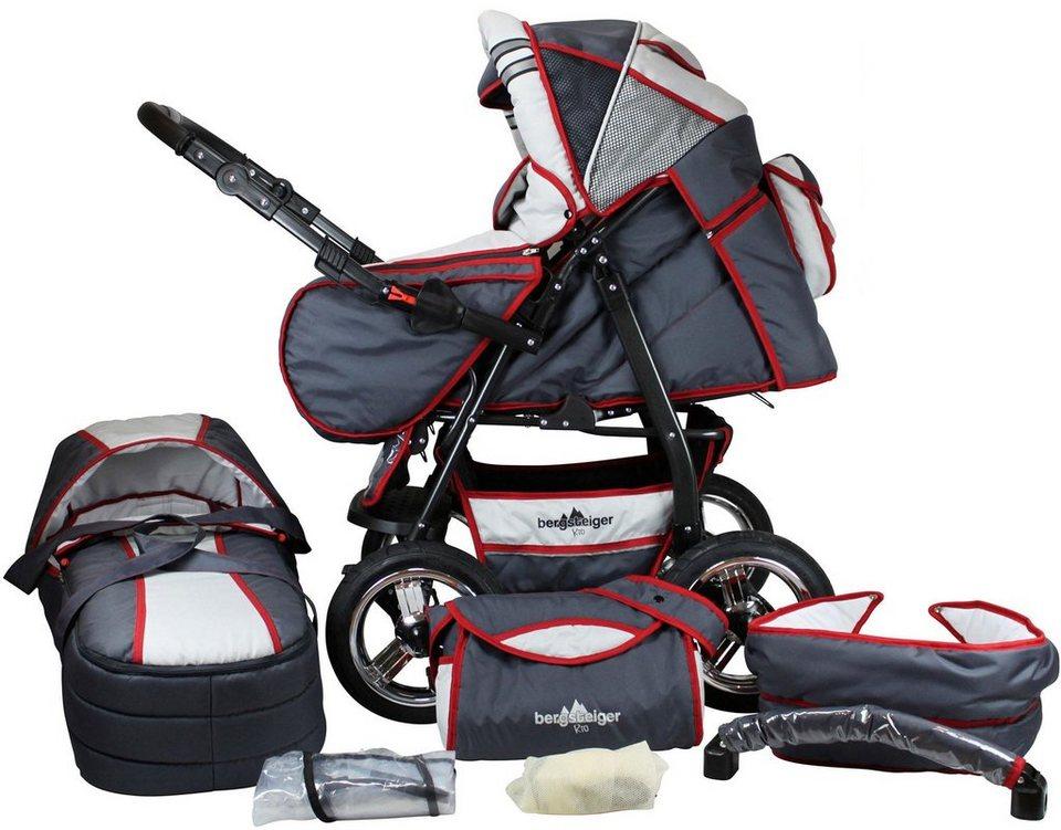 Bergsteiger Kombi-Kinderwagen, 10-tlg.,  Rio, Grau & ROT stripes, 3in1  online kaufen