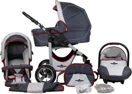 bergsteiger Kombi-Kinderwagen »Capri, grey & red stripes, 3in1«, (10-tlg), Made in Europe