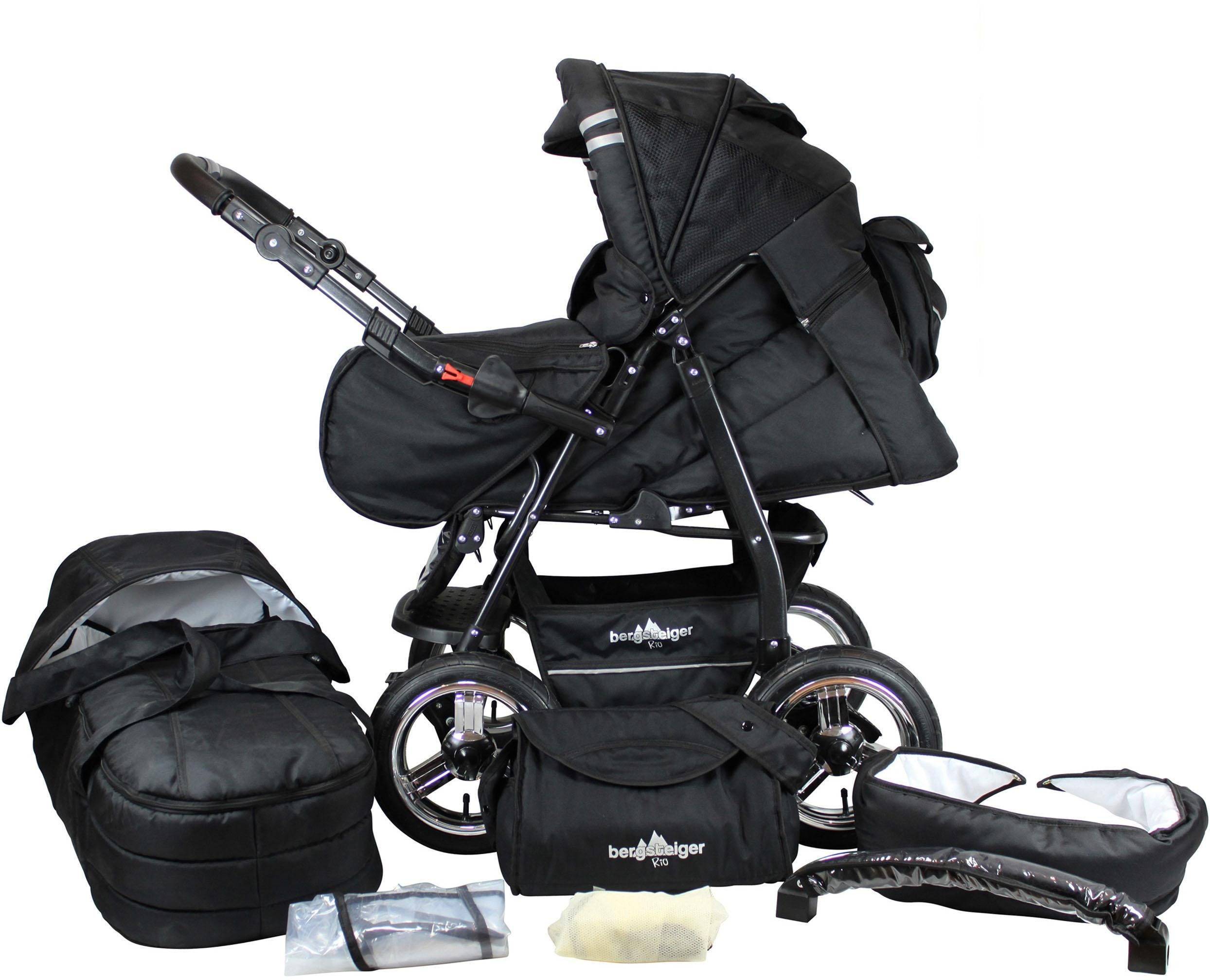 Bergsteiger Kombi-Kinderwagen, 10-tlg., »Rio, black edition, 3in1«