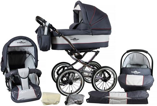 bergsteiger Kombi-Kinderwagen »Venedig, grey & red stripes, 3in1«, (10-tlg)