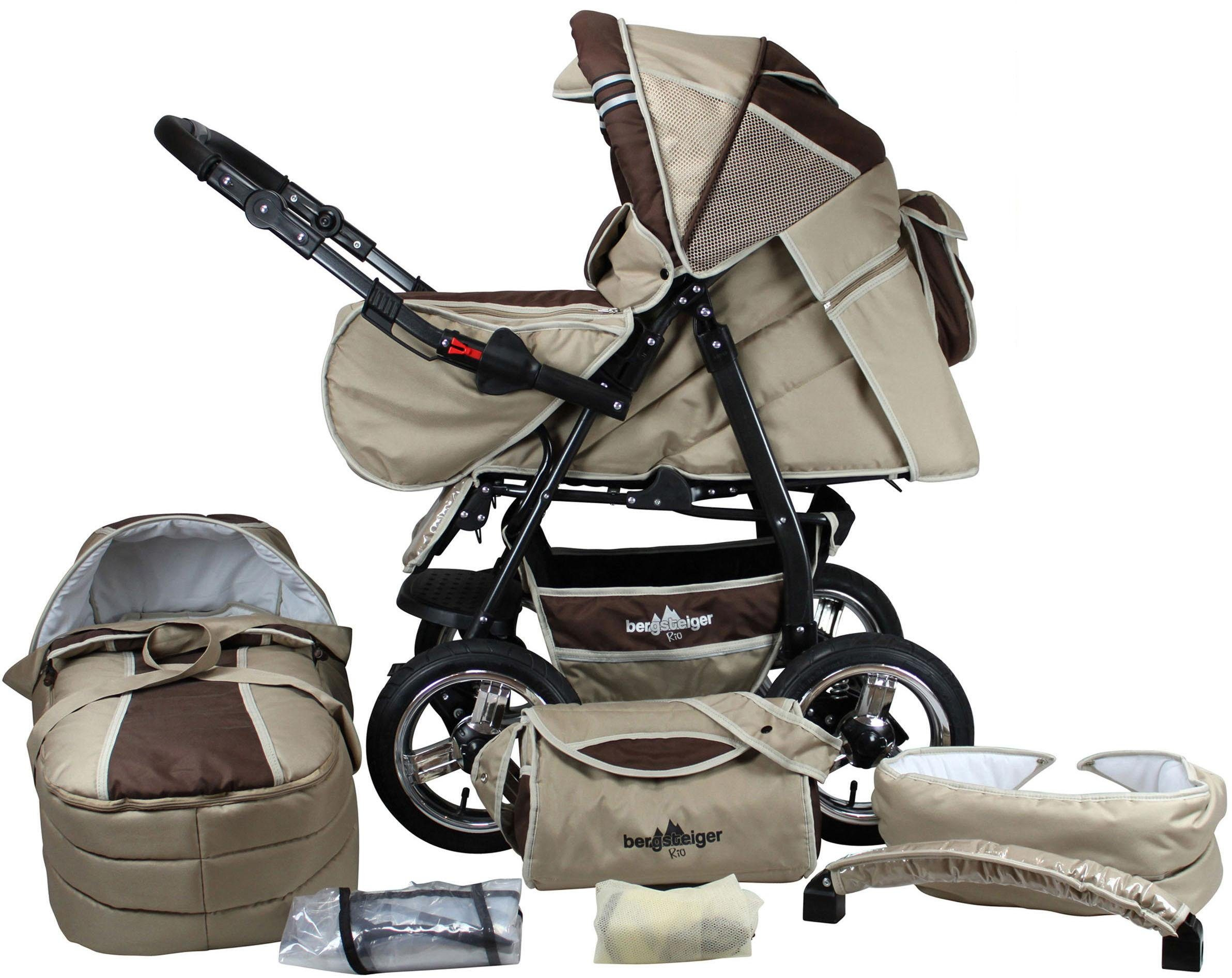 Bergsteiger Kombi-Kinderwagen, 10-tlg., »Rio, coffee & brown, 3in1«