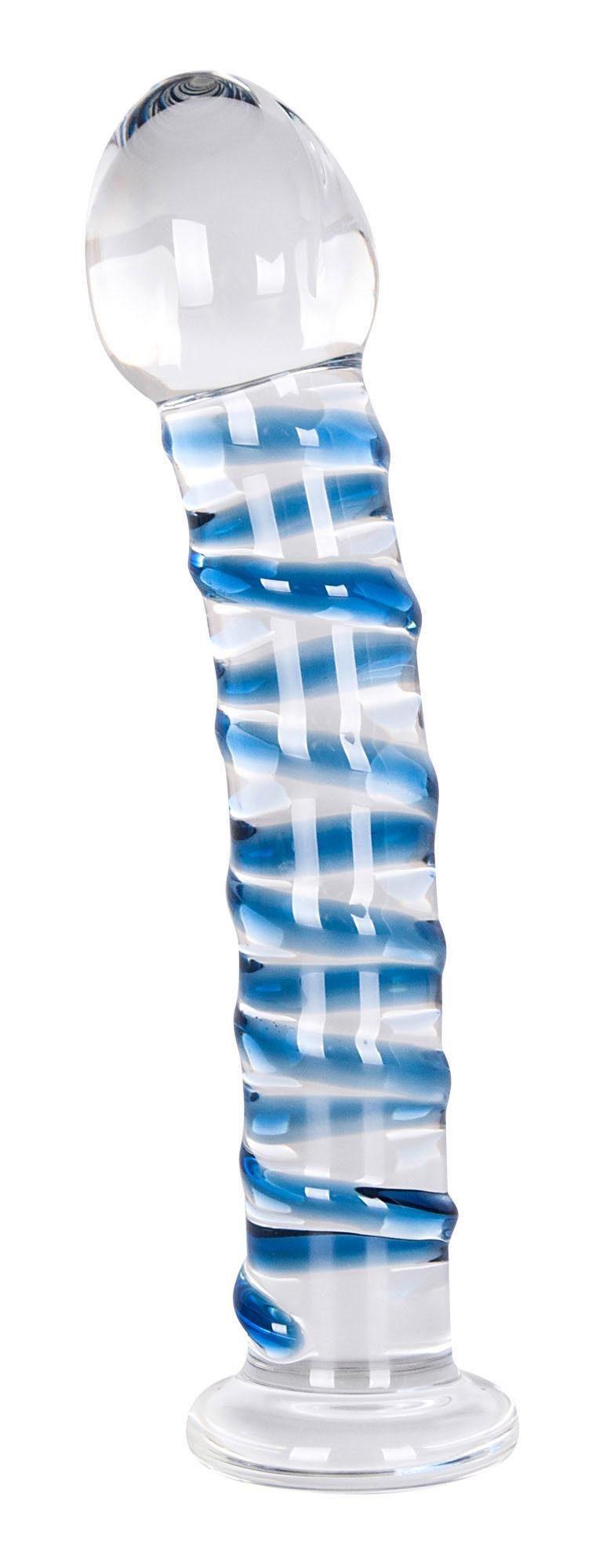 You2Toys Glasdildo Arts Clair Bleu Glasdildo, Leicht gebogener Dildo aus transparentem Qualitätsglas mit Reizspirale