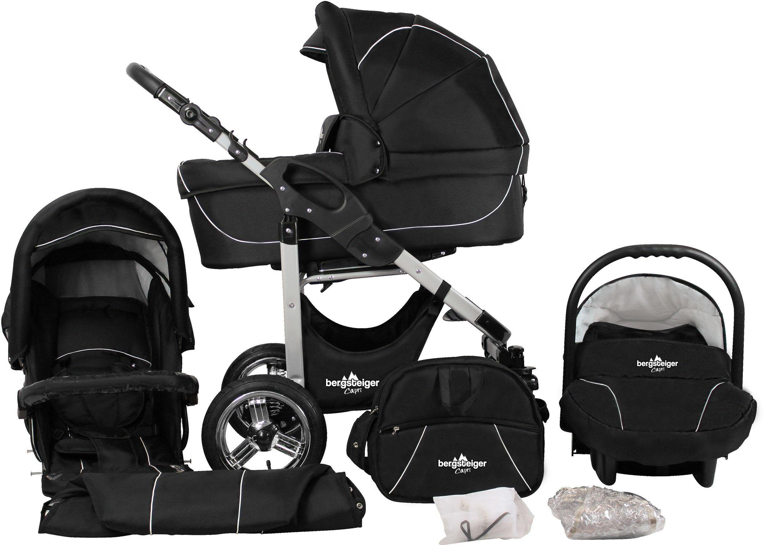 Bergsteiger Kombi-Kinderwagen, 10-tlg., »Capri, black edition, 3in1«