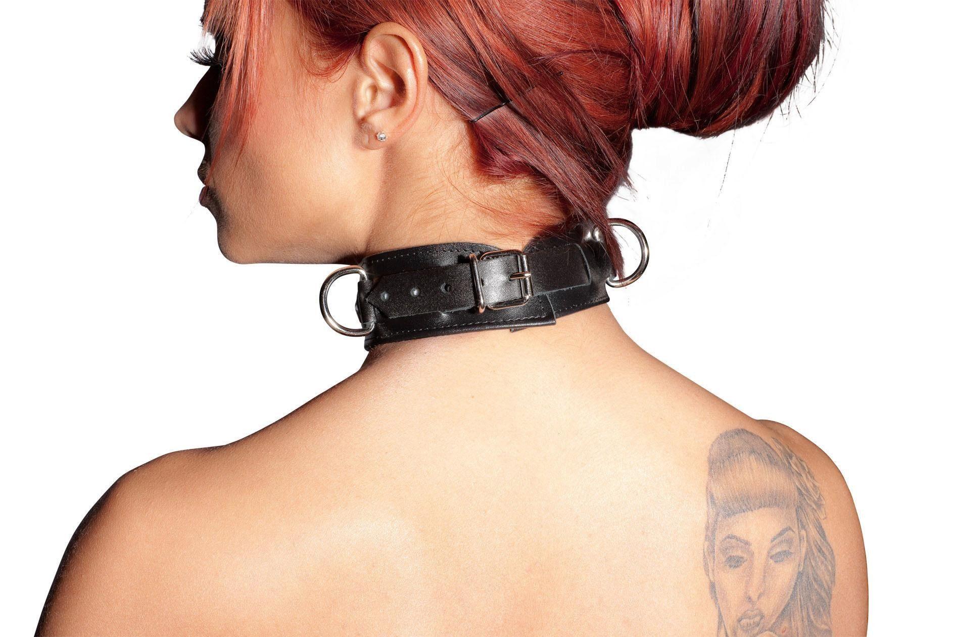 Zado Leder Halsband, Halsband aus Leder mit Ringen