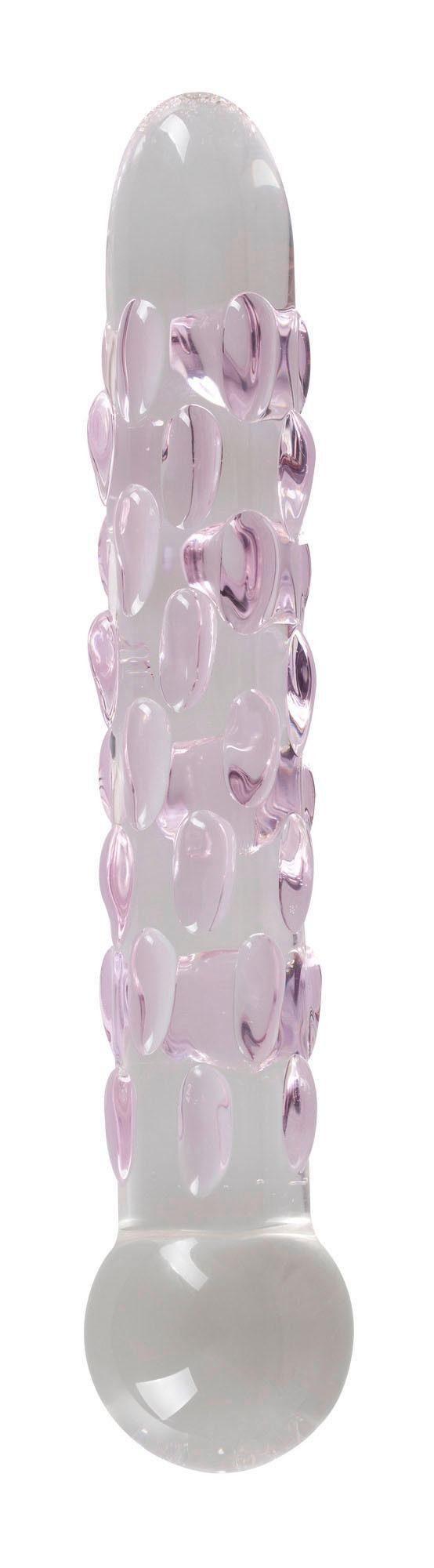 Icicles Glasdildo Icicles No. 7, Glas-Dildo mit Reiznoppen und Standfuß