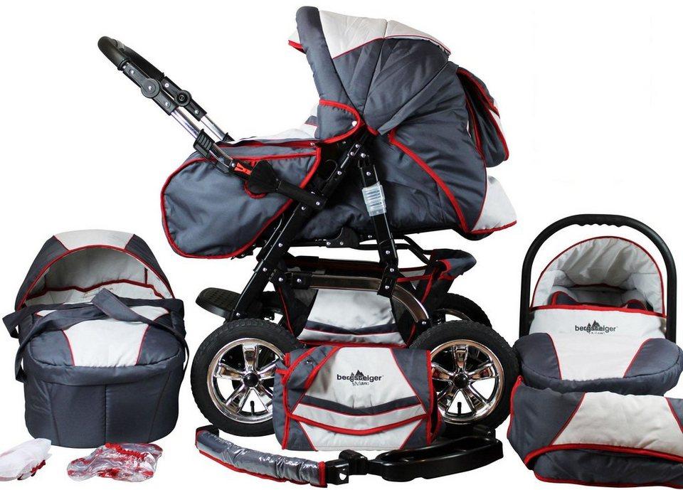 Bergsteiger Kombi-Kinderwagen, 10-tlg.,  Milano, Grau & ROT stripes, 3in1  online kaufen