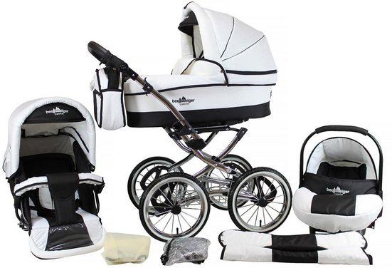 bergsteiger Kombi-Kinderwagen »Venedig, black & white, 3in1«, (10-tlg), Made in Europe; Kinderwagen