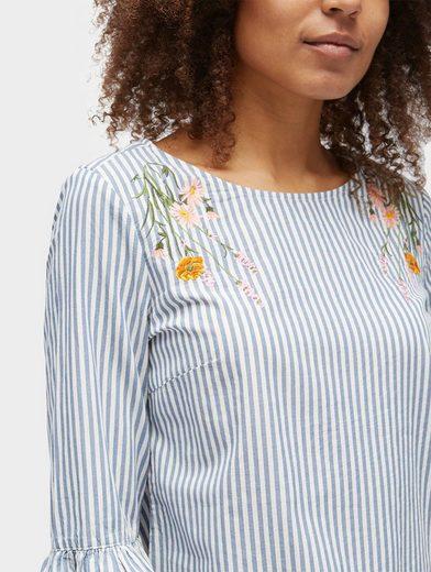 Tom Tailor Shirtbluse gestreifte Bluse mit floraler Stickerei