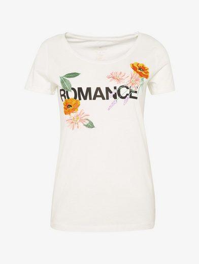 Tom Tailor T-Shirt T-Shirt mit floraler Stickerei und Schrift-Print vorne