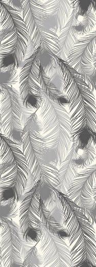 QUEENCE Vinyltapete »Federn-Grau«, 90 x 250 cm, selbstklebend