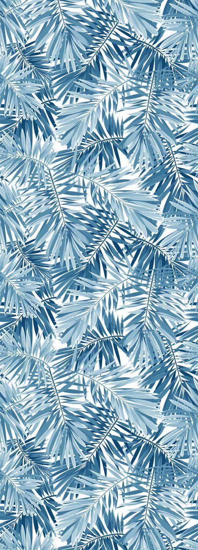 QUEENCE Vinyltapete »Tropische Blätter-Blau«, 90 x 250 cm, selbstklebend