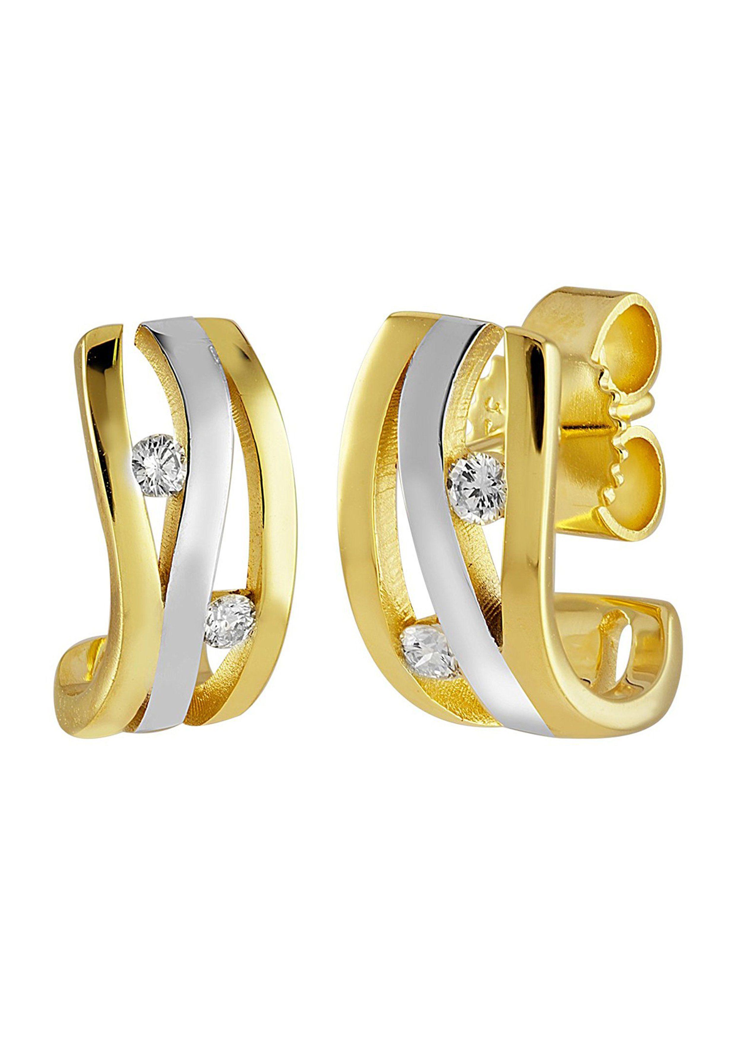 Diamond Line Goldohrstecker mit hochwertigem Diamant-Besatz