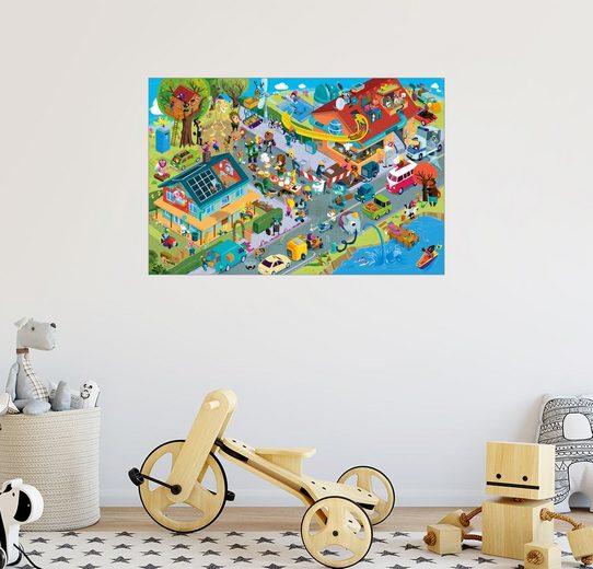 Posterlounge Wandbild - Stephan Lomp »Baustellen Wimmelbild Sommer von Lomp«