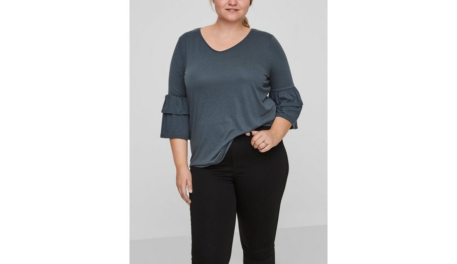 Vorbestellung Verkauf Online JUNAROSE Rüschen- Bluse mit 3/4 Ärmeln Amazon Günstig Online FLMPluEh
