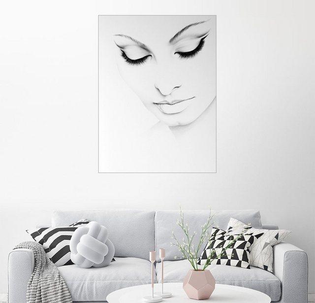 Posterlounge Wandbild - Ileana Hunter »Sophia Loren Minimales Porträt« | Dekoration > Bilder und Rahmen > Bilder | Weiß | Posterlounge
