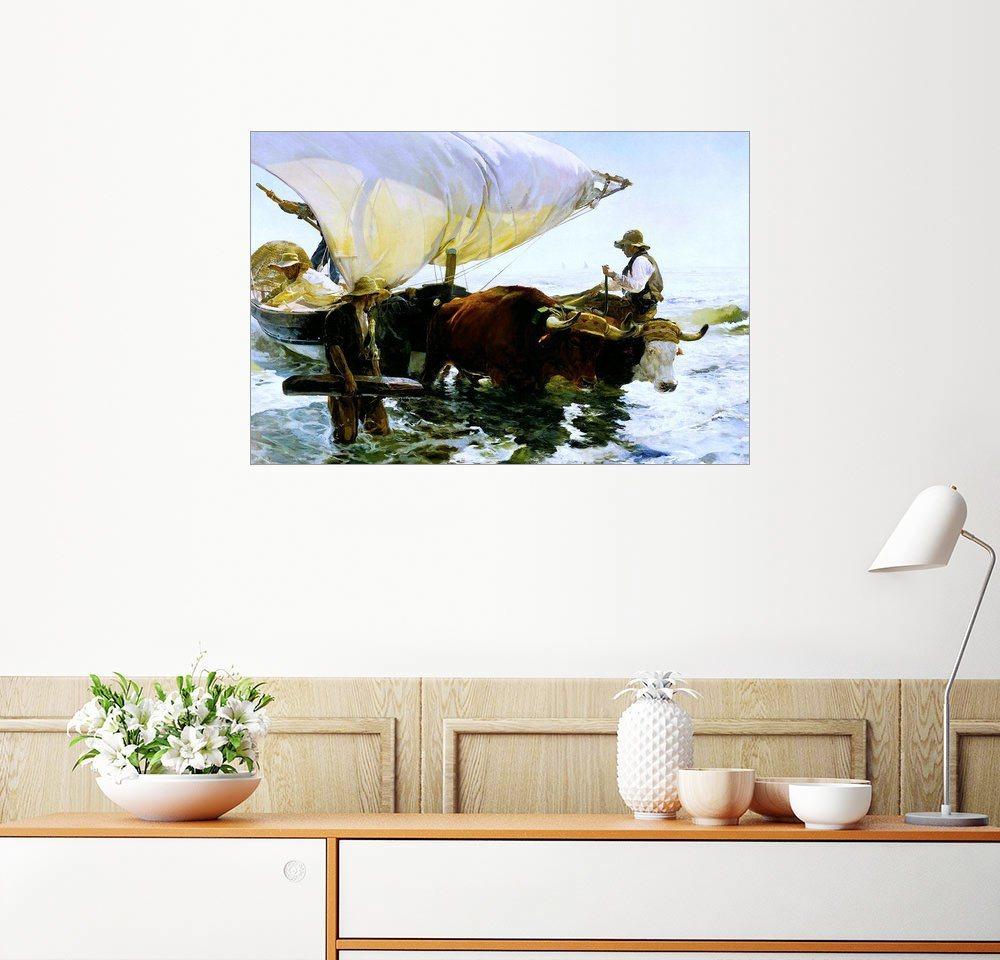 Wandbild - Joaquin Sorolla y Bastida »Ochsen ziehen ein Fischerboot«