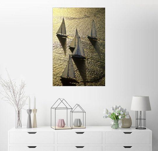 Posterlounge Wandbild - Michael Melford »Segelregatta im schimmernden Sonnenlicht«