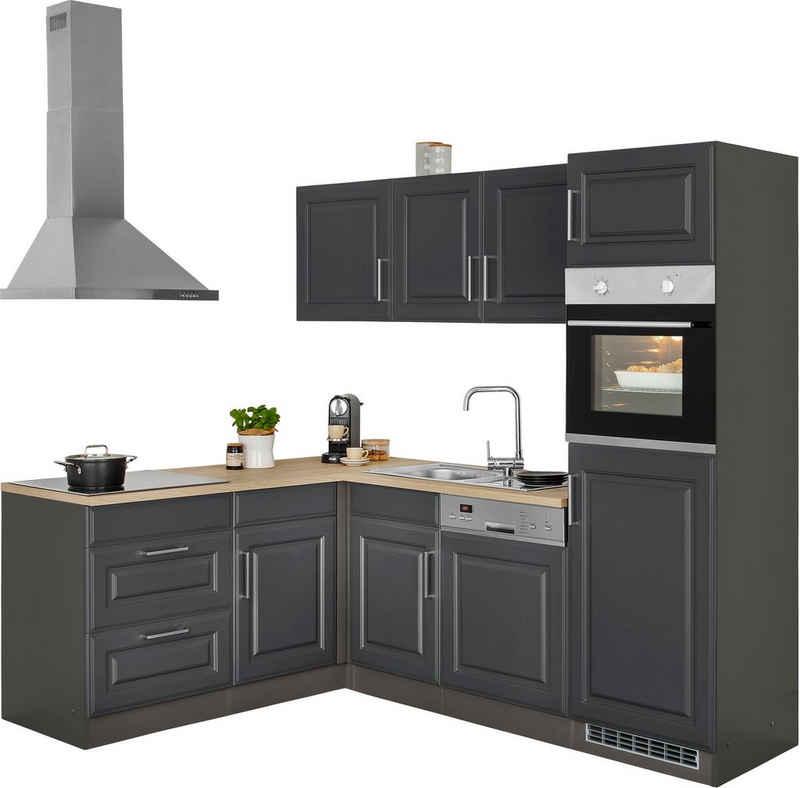 HELD MÖBEL Winkelküche »Stockholm«, mit E-Geräten, Stellbreite 230/170 cm, mit hochwertigen MDF Fronten im Landhaus-Stil