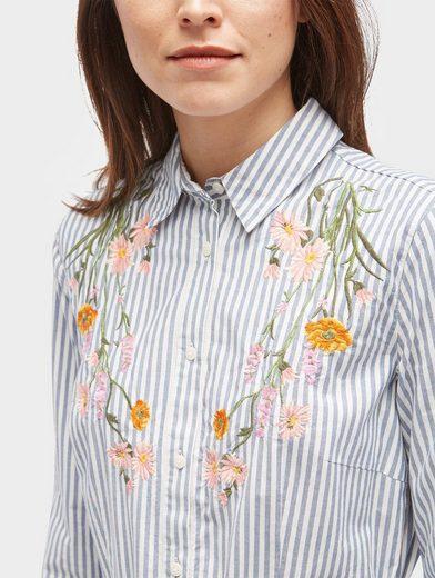 Tom Tailor Blusenkleid gestreiftes Kleid mit floraler Stickerei