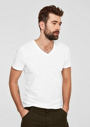 s.Oliver RED LABEL V-Neck-Shirt aus Flammgarn-Jersey