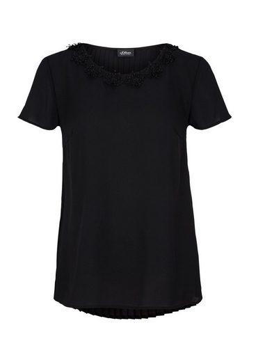 s.Oliver BLACK LABEL Crêpe-Bluse mit Spitze