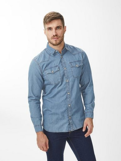 PRODUKT Denim-Slim-Fit- Langarmhemd