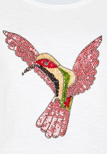 HALLHUBER T-Shirt mit Kolibri-Stickerei