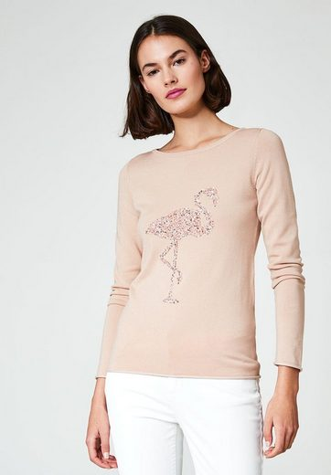 HALLHUBER Pailletten-Pullover mit Flamingo-Motiv