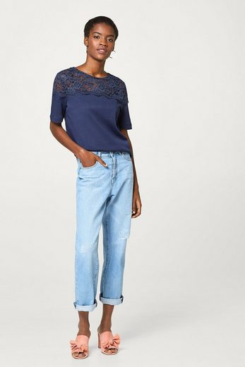 ESPRIT COLLECTION Material-Mix-Shirt mit kontrastfarbiger Spitze